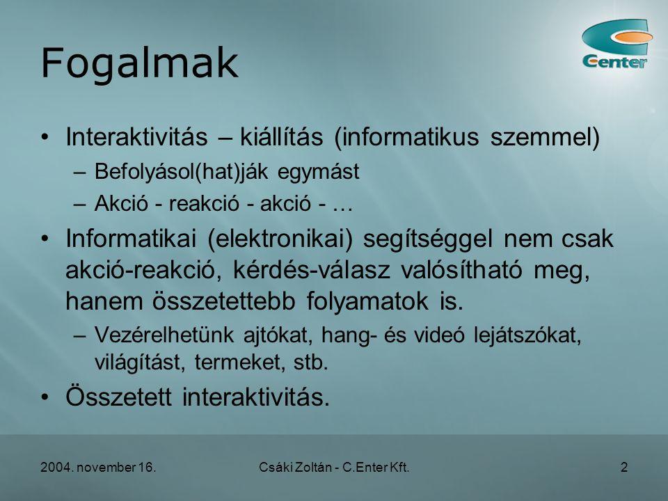 2004. november 16.Csáki Zoltán - C.Enter Kft.23 Gulag terem