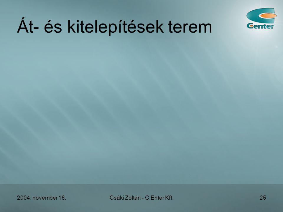 2004. november 16.Csáki Zoltán - C.Enter Kft.25 Át- és kitelepítések terem