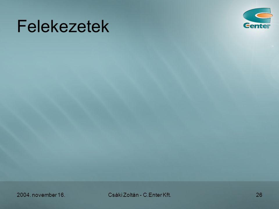 2004. november 16.Csáki Zoltán - C.Enter Kft.26 Felekezetek