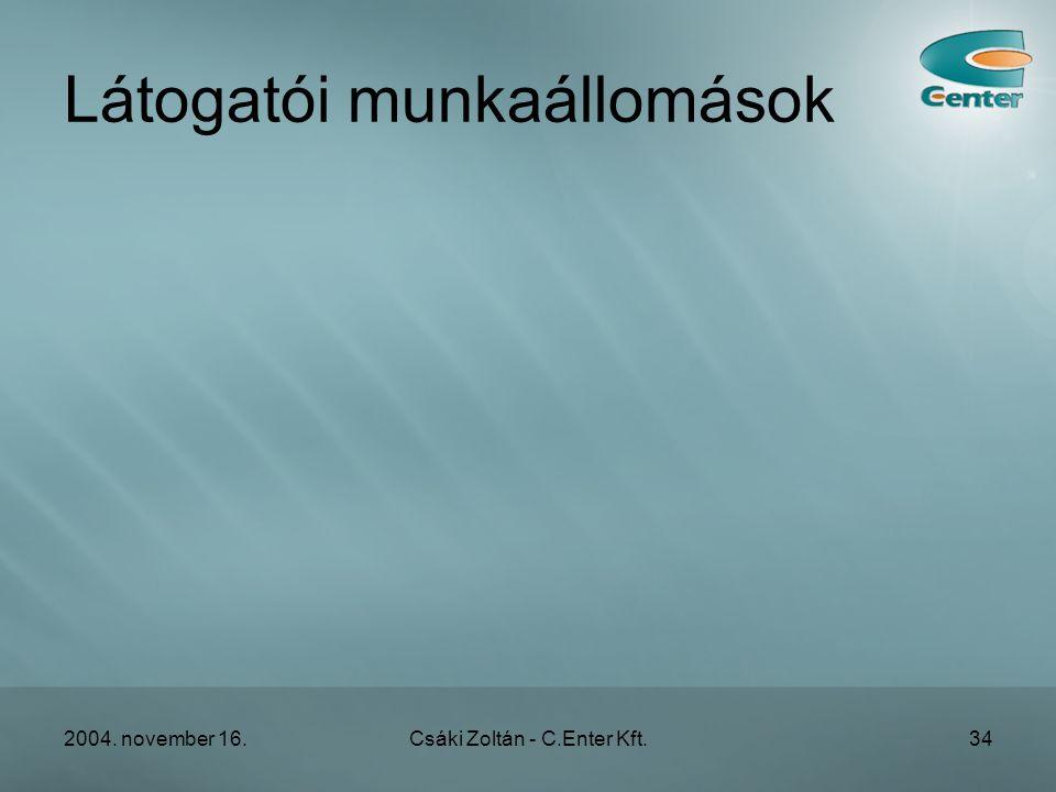 2004. november 16.Csáki Zoltán - C.Enter Kft.34 Látogatói munkaállomások