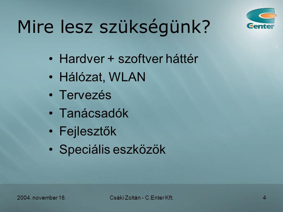 2004. november 16.Csáki Zoltán - C.Enter Kft.4 Mire lesz szükségünk.
