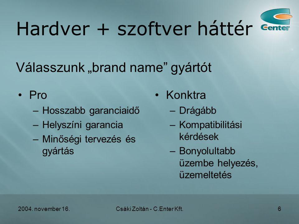 2004. november 16.Csáki Zoltán - C.Enter Kft.37 Szerverek