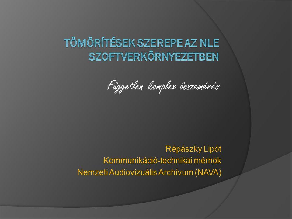 Répászky Lipót Kommunikáció-technikai mérnök Nemzeti Audiovizuális Archívum (NAVA) Független komplex összemérés