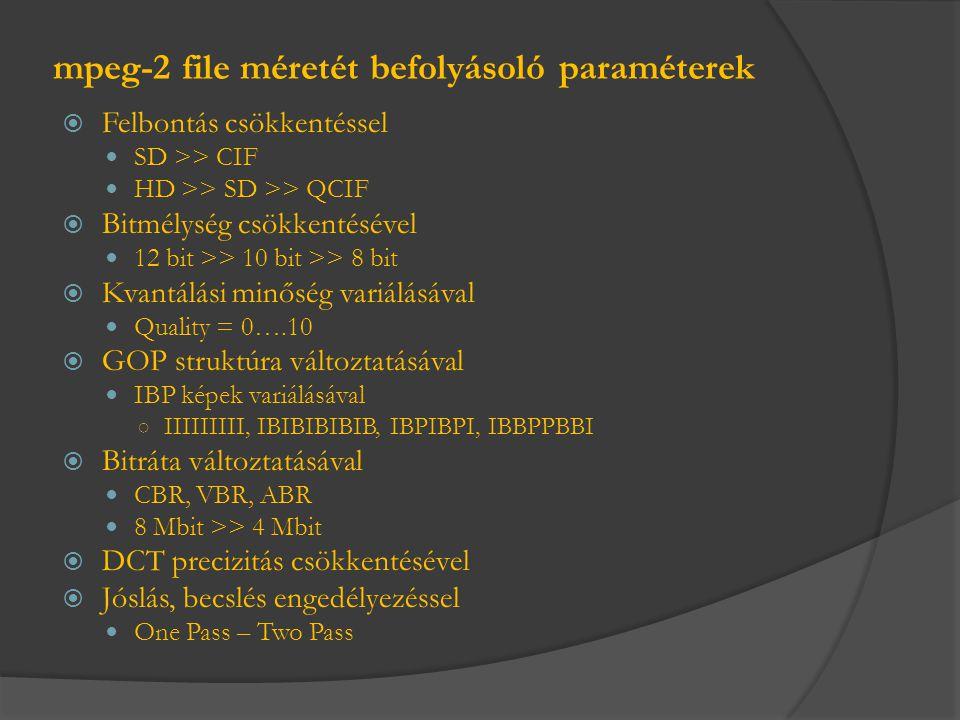 mpeg-2 file méretét befolyásoló paraméterek  Felbontás csökkentéssel  SD >> CIF  HD >> SD >> QCIF  Bitmélység csökkentésével  12 bit >> 10 bit >>