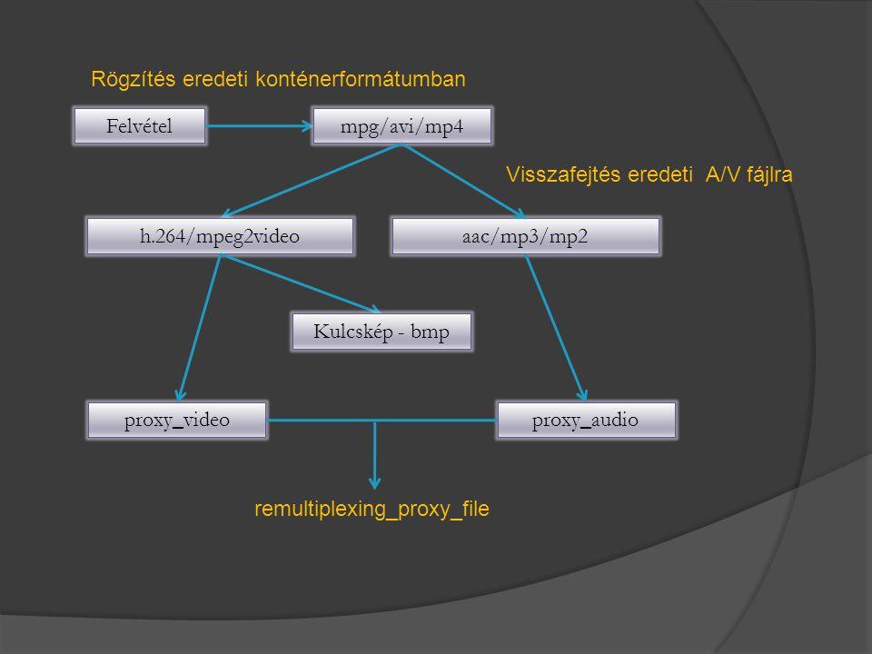 Felvételmpg/avi/mp4 Rögzítés eredeti konténerformátumban Visszafejtés eredeti A/V fájlra h.264/mpeg2videoaac/mp3/mp2 Kulcskép - bmp proxy_videoproxy_a