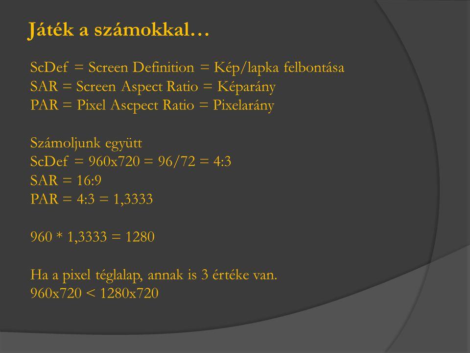ScDef = Screen Definition = Kép/lapka felbontása SAR = Screen Aspect Ratio = Képarány PAR = Pixel Ascpect Ratio = Pixelarány Számoljunk együtt ScDef =