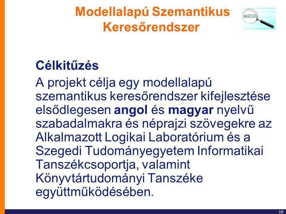 10 Modellalapú Szemantikus Keresőrendszer Célkitűzés A projekt célja egy modellalapú szemantikus keresőrendszer kifejlesztése elsődlegesen angol és ma