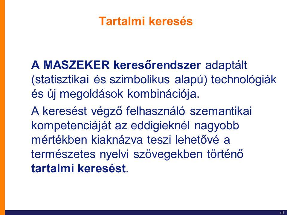 11 Tartalmi keresés A MASZEKER keresőrendszer adaptált (statisztikai és szimbolikus alapú) technológiák és új megoldások kombinációja. A keresést végz
