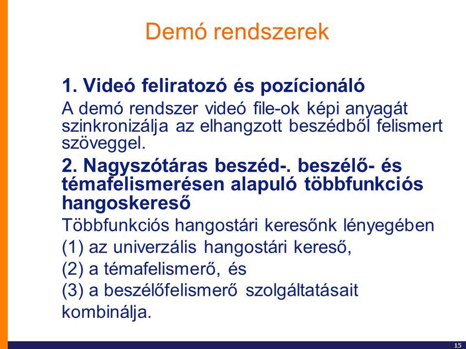 15 Demó rendszerek 1. Videó feliratozó és pozícionáló A demó rendszer videó file-ok képi anyagát szinkronizálja az elhangzott beszédből felismert szöv