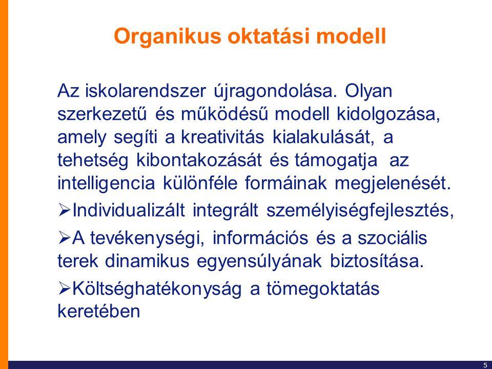 5 Organikus oktatási modell Az iskolarendszer újragondolása. Olyan szerkezetű és működésű modell kidolgozása, amely segíti a kreativitás kialakulását,