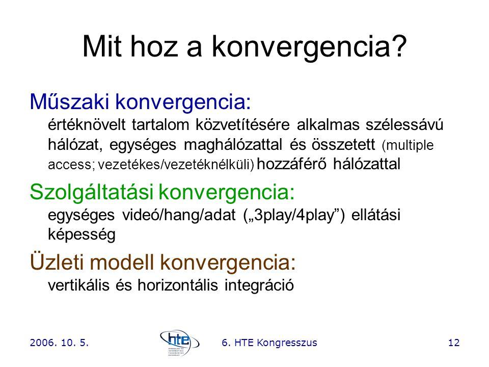 2006. 10. 5.6. HTE Kongresszus12 Mit hoz a konvergencia? Műszaki konvergencia: értéknövelt tartalom közvetítésére alkalmas szélessávú hálózat, egysége