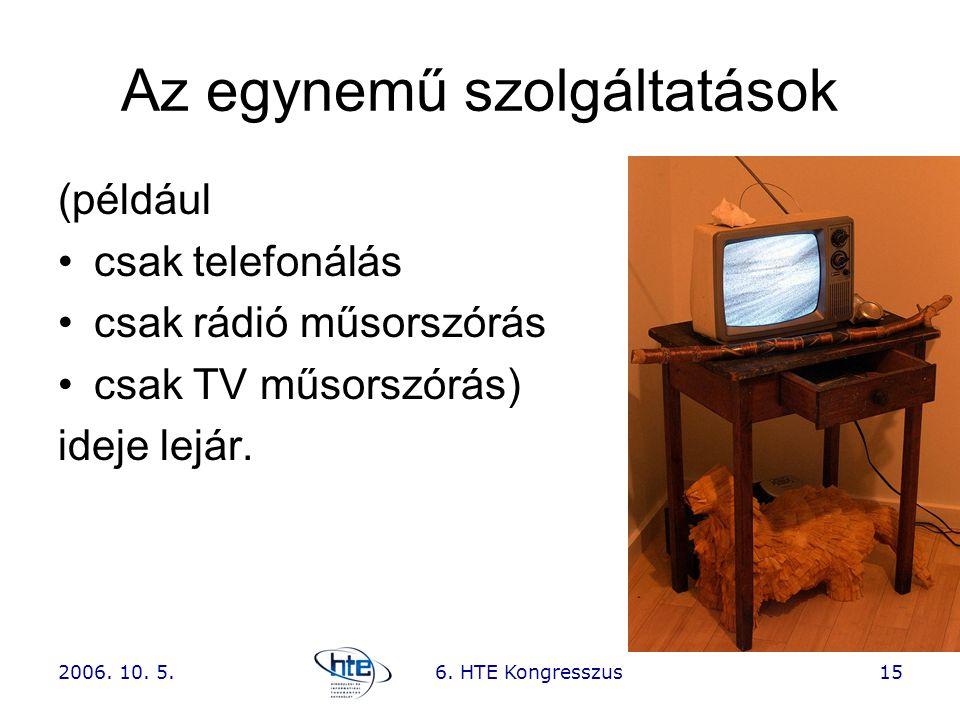 2006. 10. 5.6. HTE Kongresszus15 Az egynemű szolgáltatások (például •csak telefonálás •csak rádió műsorszórás •csak TV műsorszórás) ideje lejár.