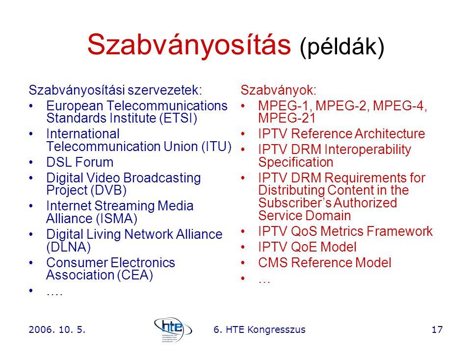 2006. 10. 5.6. HTE Kongresszus17 Szabványosítás (példák) Szabványosítási szervezetek: •European Telecommunications Standards Institute (ETSI) •Interna