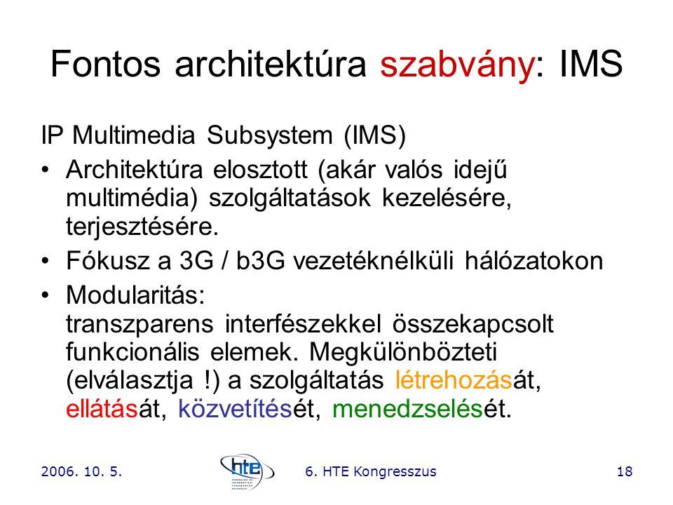 2006. 10. 5.6. HTE Kongresszus18 Fontos architektúra szabvány: IMS IP Multimedia Subsystem (IMS) •Architektúra elosztott (akár valós idejű multimédia)