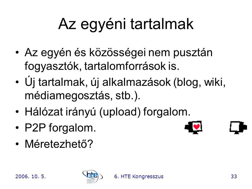 2006. 10. 5.6. HTE Kongresszus33 Az egyéni tartalmak •Az egyén és közösségei nem pusztán fogyasztók, tartalomforrások is. •Új tartalmak, új alkalmazás