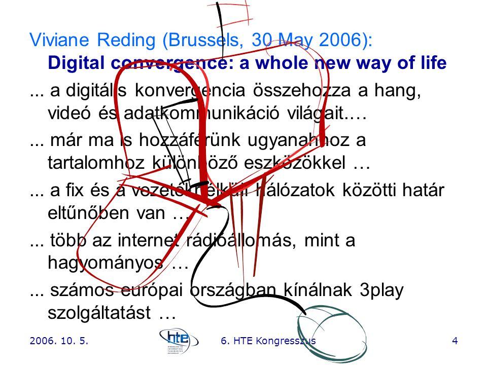 2006. 10. 5.6. HTE Kongresszus4 Viviane Reding (Brussels, 30 May 2006): Digital convergence: a whole new way of life... a digitális konvergencia össze