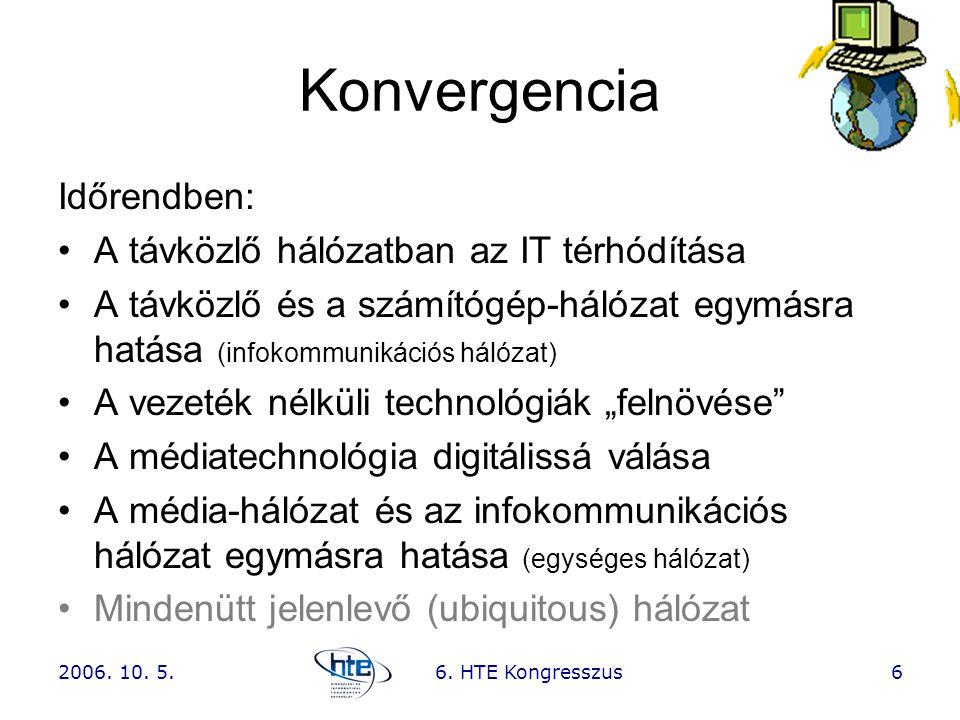 2006. 10. 5.6. HTE Kongresszus6 Konvergencia Időrendben: •A távközlő hálózatban az IT térhódítása •A távközlő és a számítógép-hálózat egymásra hatása