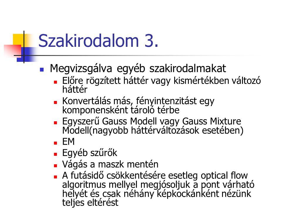 Szakirodalom 3.  Megvizsgálva egyéb szakirodalmakat  Előre rögzített háttér vagy kismértékben változó háttér  Konvertálás más, fényintenzitást egy