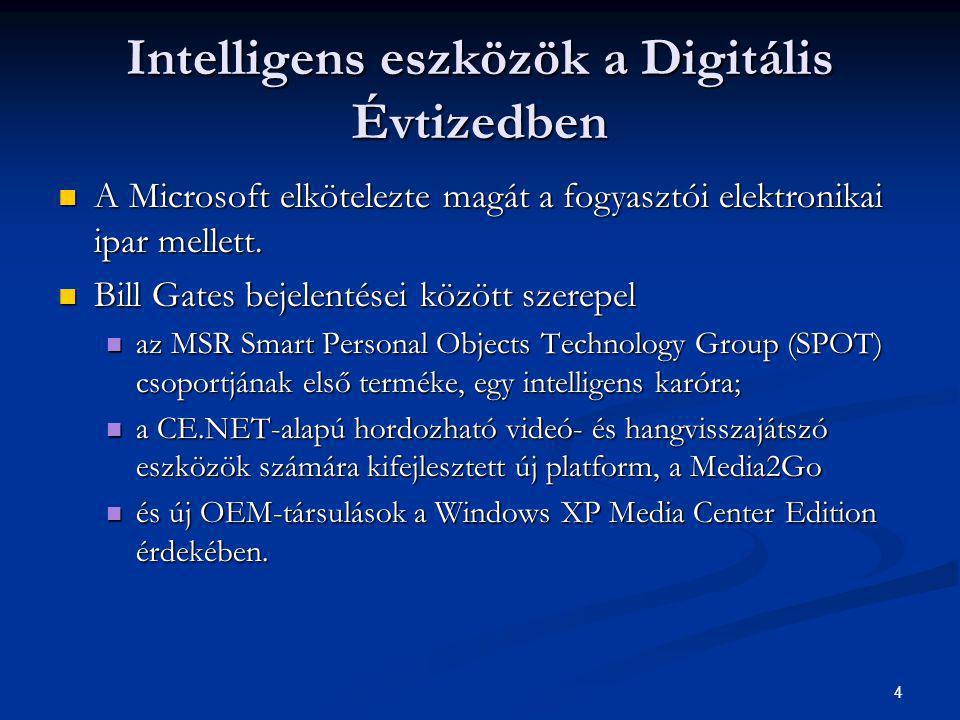 4 Intelligens eszközök a Digitális Évtizedben  A Microsoft elkötelezte magát a fogyasztói elektronikai ipar mellett.