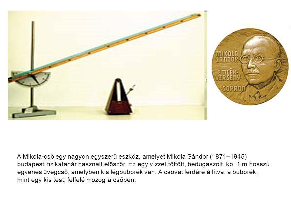 A Mikola-cső egy nagyon egyszerű eszköz, amelyet Mikola Sándor (1871–1945) budapesti fizikatanár használt először. Ez egy vízzel töltött, bedugaszolt,