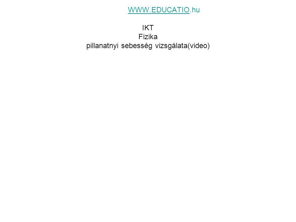 WWW.EDUCATIO.hu IKT Fizika pillanatnyi sebesség vizsgálata(video)WWW.EDUCATIO