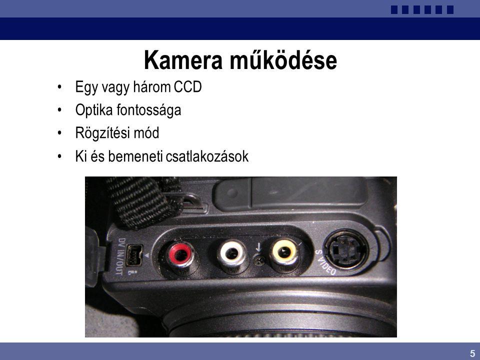 6 Kamera paraméterei •CCD minősége •Optika, zoom tartomány •Kereső(k) fajtái •Rögzítési rendszer •Beállítási lehetőségek •Menürendszer •Gombok kezelhetősége •Szolgáltatások