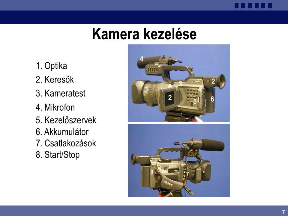 7 Kamera kezelése 1. Optika 2. Keresők 3. Kameratest 4. Mikrofon 5. Kezelőszervek 6. Akkumulátor 7. Csatlakozások 8. Start/Stop