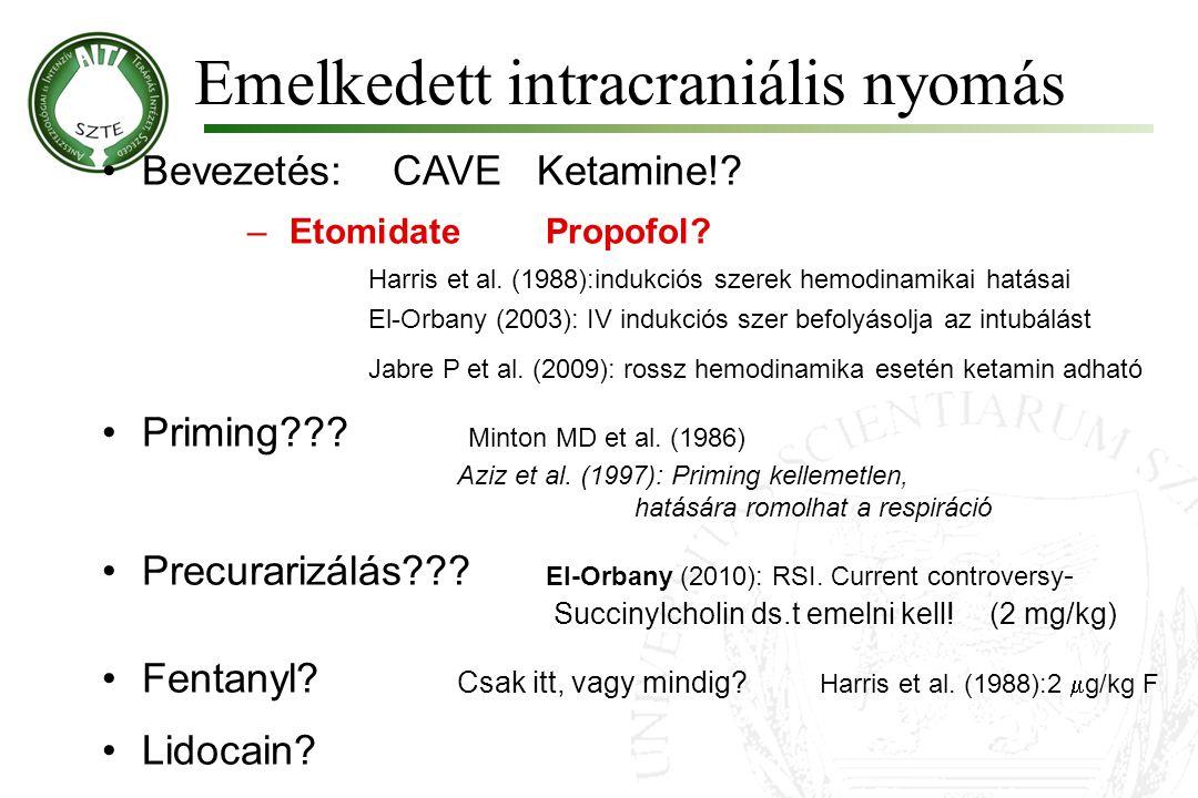 Emelkedett intracraniális nyomás •Bevezetés: CAVE Ketamine!? –Etomidate Propofol? Harris et al. (1988):indukciós szerek hemodinamikai hatásai El-Orban