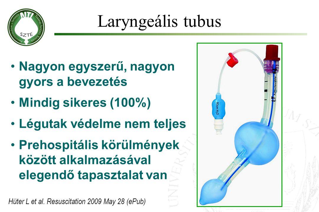 Laryngeális tubus •Nagyon egyszerű, nagyon gyors a bevezetés •Mindig sikeres (100%) •Légutak védelme nem teljes •Prehospitális körülmények között alka