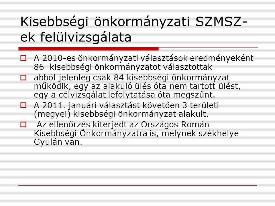 Kisebbségi önkormányzati SZMSZ- ek felülvizsgálata  A 2010-es önkormányzati választások eredményeként 86 kisebbségi önkormányzatot választottak  abb
