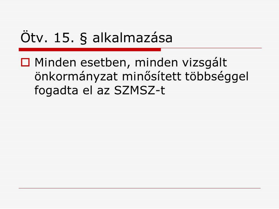 Ötv. 15. § alkalmazása  Minden esetben, minden vizsgált önkormányzat minősített többséggel fogadta el az SZMSZ-t