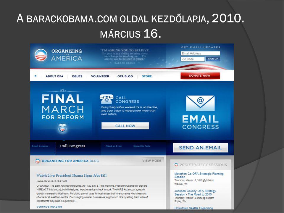 A BARACKOBAMA. COM OLDAL KEZDŐLAPJA, 2010. MÁRCIUS 16.