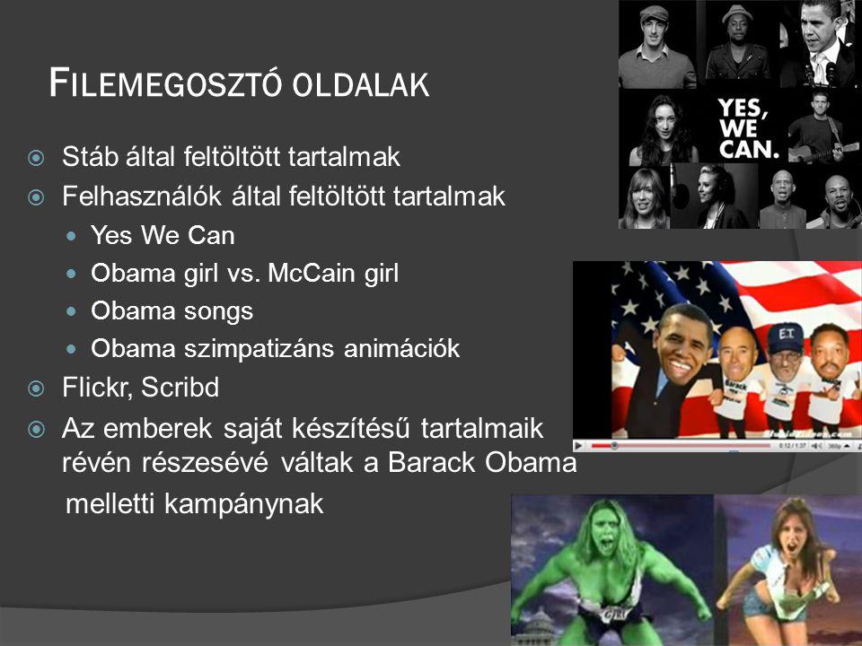 F ILEMEGOSZTÓ OLDALAK  Stáb által feltöltött tartalmak  Felhasználók által feltöltött tartalmak  Yes We Can  Obama girl vs.