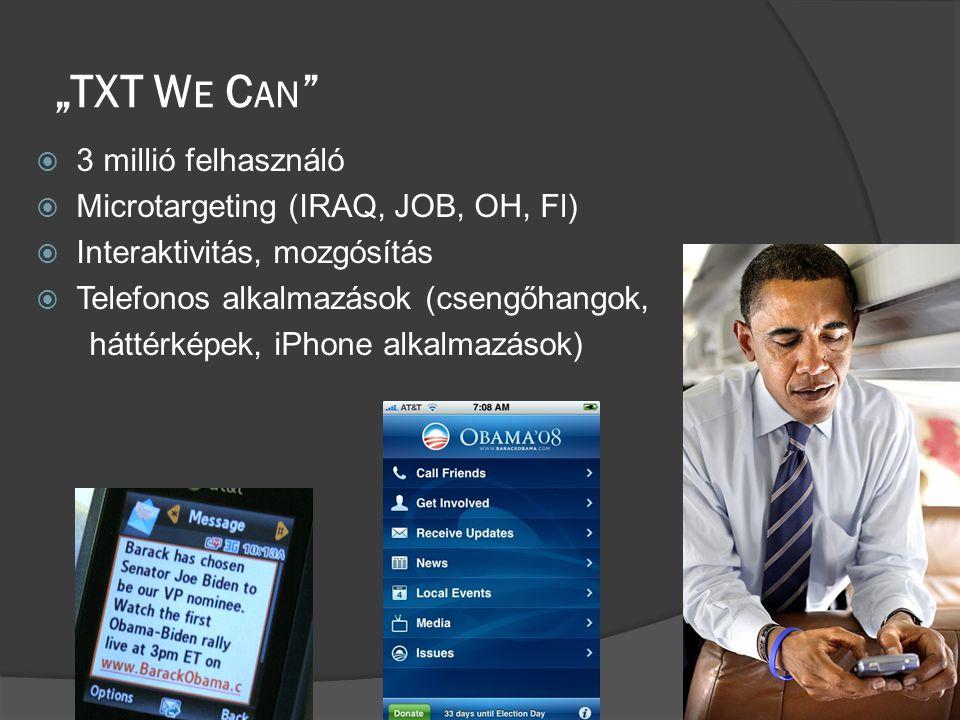 """""""TXT W E C AN  3 millió felhasználó  Microtargeting (IRAQ, JOB, OH, Fl)  Interaktivitás, mozgósítás  Telefonos alkalmazások (csengőhangok, háttérképek, iPhone alkalmazások)"""