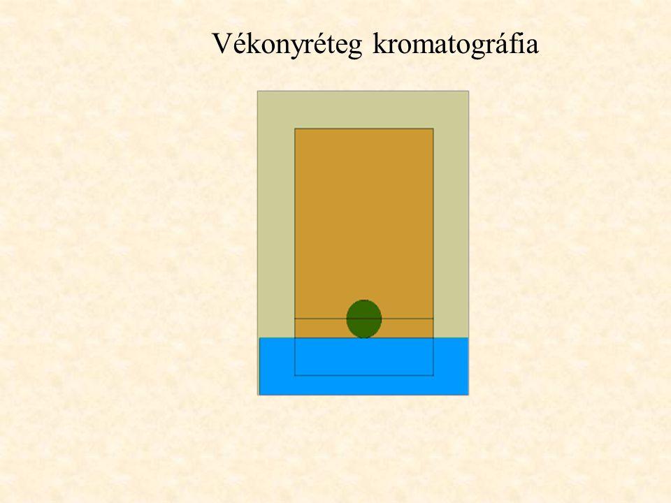 A KROMATOGRÁFIÁS FOLYAMAT A mozgófázisba impulzus-szerűen bejuttatott minta az állófázisra kerül, ahol a mintakomponensek megoszlási hányadosuknak meg