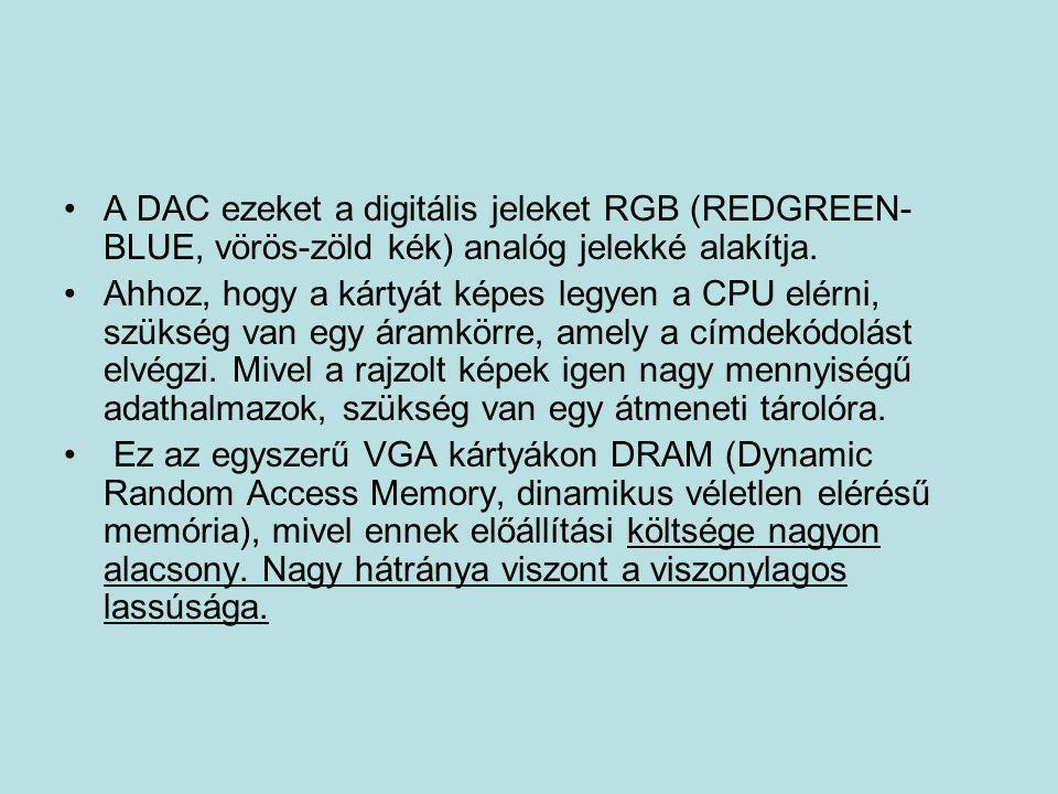 •A DAC ezeket a digitális jeleket RGB (REDGREEN- BLUE, vörös-zöld kék) analóg jelekké alakítja. •Ahhoz, hogy a kártyát képes legyen a CPU elérni, szü