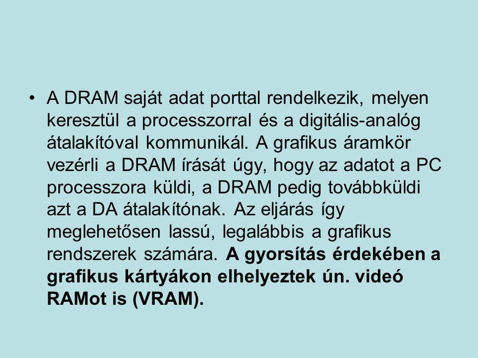 •A DRAM saját adat porttal rendelkezik, melyen keresztül a processzorral és a digitális-analóg átalakítóval kommunikál. A grafikus áramkör vezérli a D