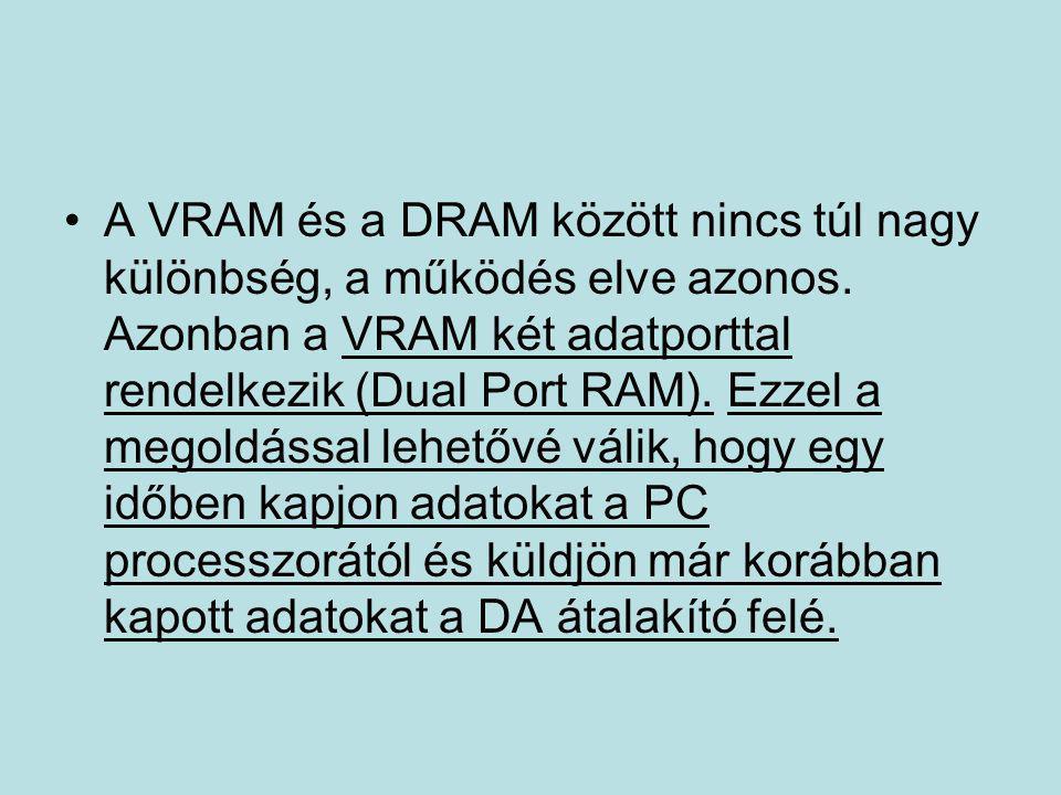 •A VRAM és a DRAM között nincs túl nagy különbség, a működés elve azonos. Azonban a VRAM két adatporttal rendelkezik (Dual Port RAM). Ezzel a megoldás