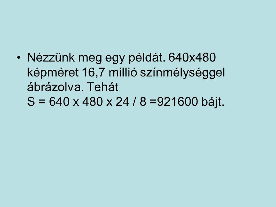 •Nézzünk meg egy példát. 640x480 képméret 16,7 millió színmélységgel ábrázolva. Tehát S = 640 x 480 x 24 / 8 =921600 bájt.