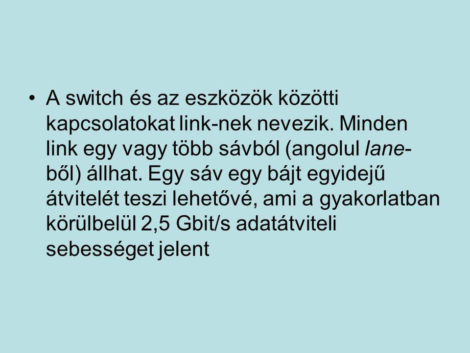 •A switch és az eszközök közötti kapcsolatokat link-nek nevezik. Minden link egy vagy több sávból (angolul lane- ből) állhat. Egy sáv egy bájt egyidej