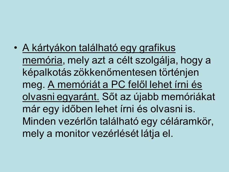 •A kártyákon található egy grafikus memória, mely azt a célt szolgálja, hogy a képalkotás zökkenőmentesen történjen meg. A memóriát a PC felől lehet í