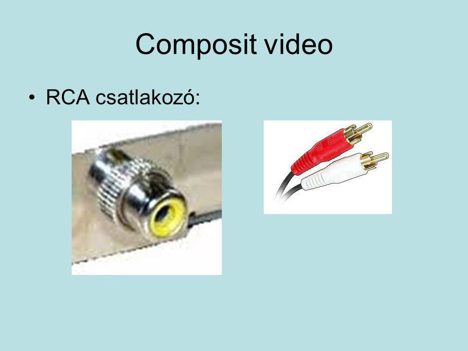 Composit video •RCA csatlakozó: