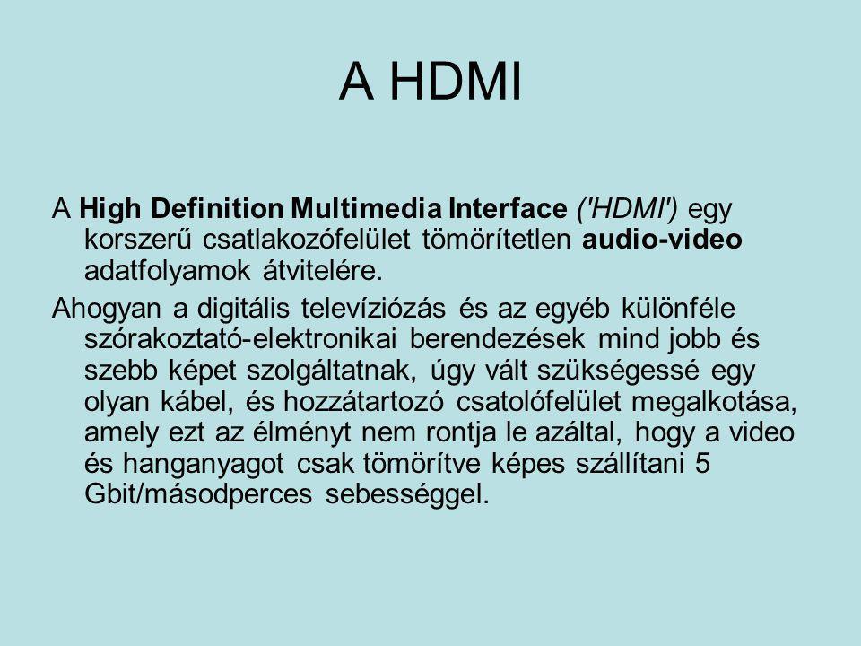 A HDMI A High Definition Multimedia Interface ('HDMI') egy korszerű csatlakozófelület tömörítetlen audio-video adatfolyamok átvitelére. Ahogyan a digi