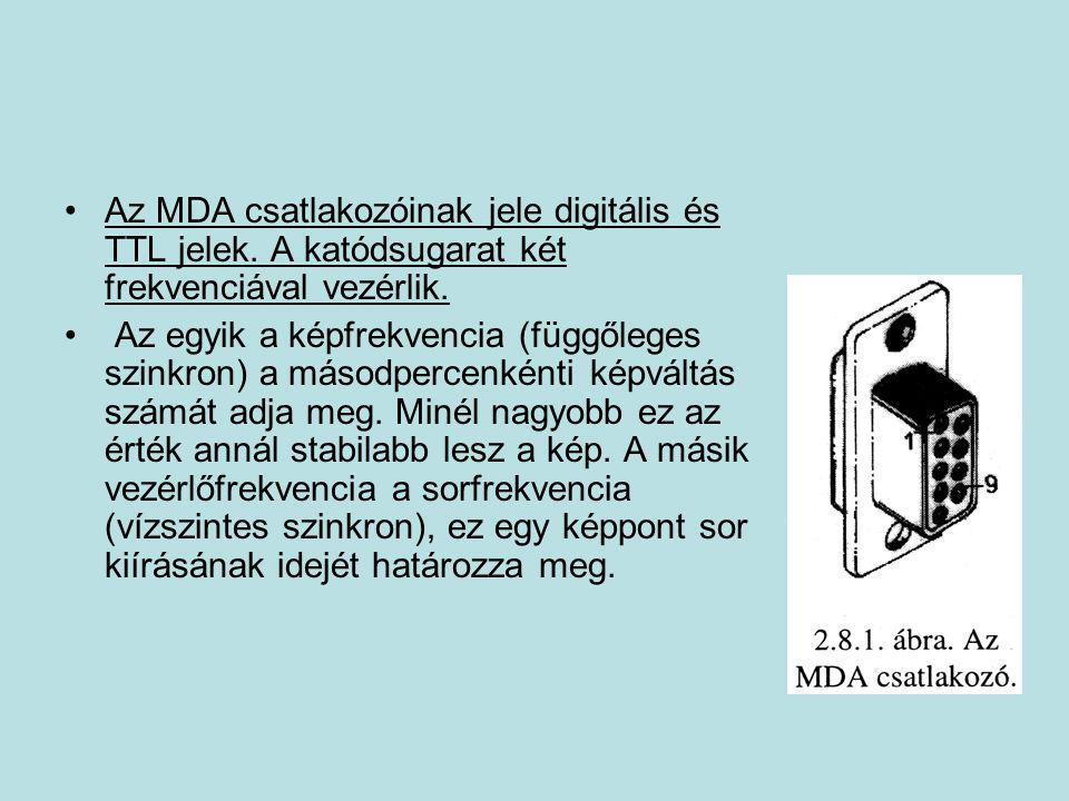 •Az MDA csatlakozóinak jele digitális és TTL jelek. A katódsugarat két frekvenciával vezérlik. • Az egyik a képfrekvencia (függőleges szinkron) a máso