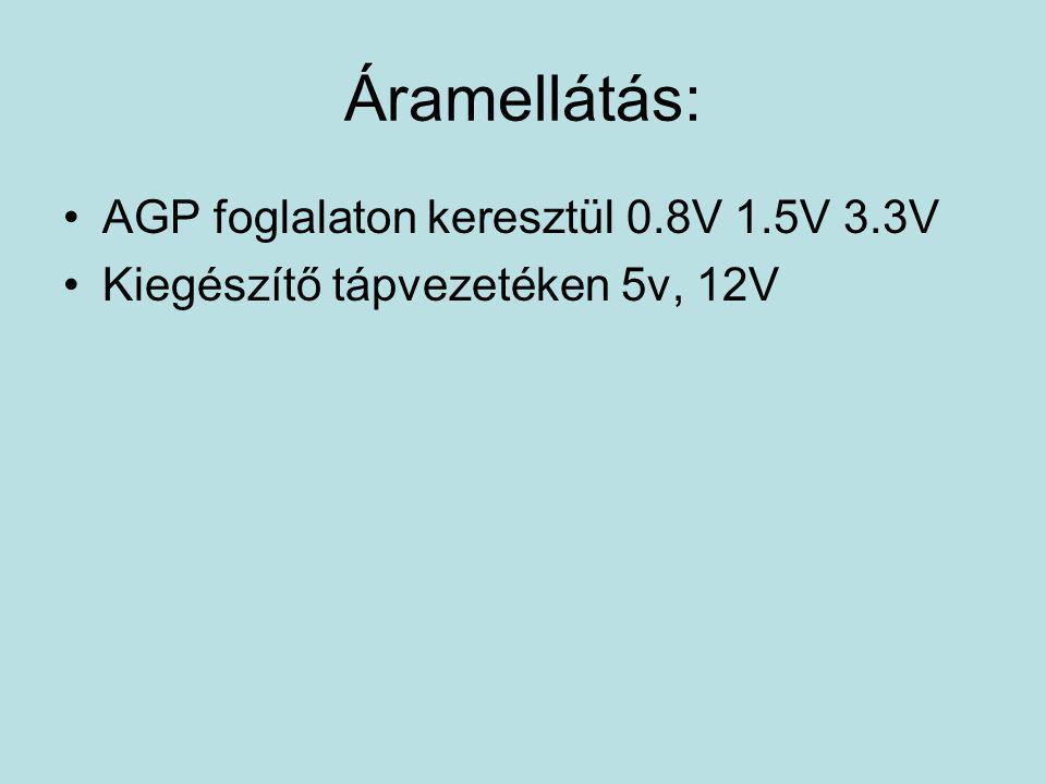 Áramellátás: •AGP foglalaton keresztül 0.8V 1.5V 3.3V •Kiegészítő tápvezetéken 5v, 12V