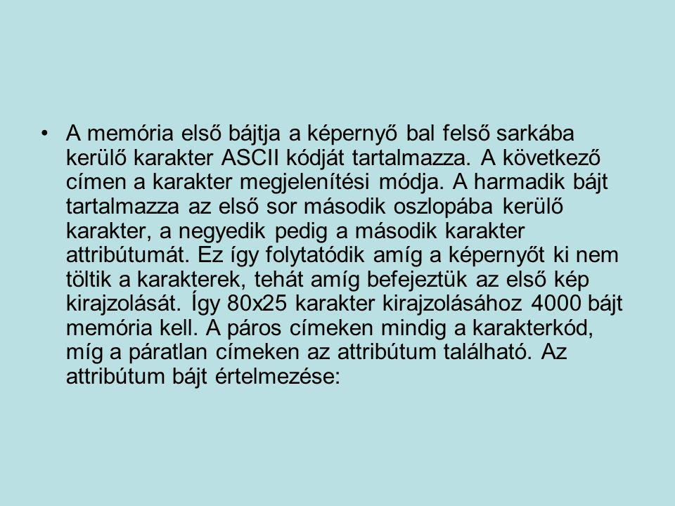 •A memória első bájtja a képernyő bal felső sarkába kerülő karakter ASCII kódját tartalmazza. A következő címen a karakter megjelenítési módja. A harm