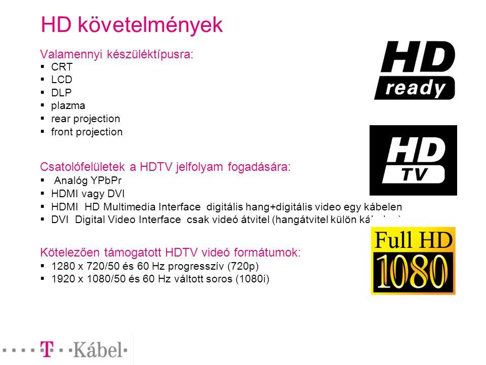 HD követelmények Valamennyi készüléktípusra:  CRT  LCD  DLP  plazma  rear projection  front projection Csatolófelületek a HDTV jelfolyam fogadására:  Analóg YPbPr  HDMI vagy DVI  HDMI HD Multimedia Interface digitális hang+digitális video egy kábelen  DVI Digital Video Interface csak videó átvitel (hangátvitel külön kábelen) Kötelezően támogatott HDTV videó formátumok:  1280 x 720/50 és 60 Hz progresszív (720p)  1920 x 1080/50 és 60 Hz váltott soros (1080i)