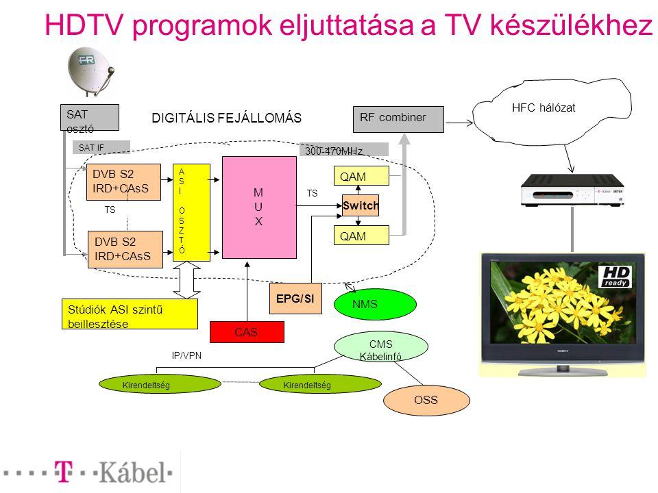 HDTV programok eljuttatása a TV készülékhez DVB S2 IRD+CAsS SAT osztó SAT IF MUXMUX QAM RF combiner 300-470MHz HFC hálózat TS CAS NMS Kirendeltség IP/VPN CMS Kábelinfó OSS DIGITÁLIS FEJÁLLOMÁS ASIOSZTÓASIOSZTÓ Stúdiók ASI szintű beillesztése TS Kirendeltség DVB S2 IRD+CAsS Switch EPG/SI