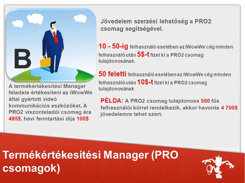 Termékértékesítési Manager (PRO csomagok) A termékértékesítési Manager feladata értékesíteni az iWowWe által gyártott videó kommunikációs eszközöket.