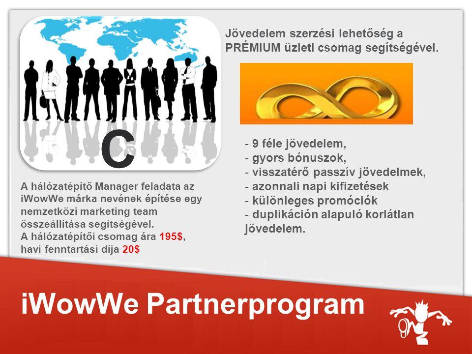 iWowWe Partnerprogram C A hálózatépítő Manager feladata az iWowWe márka nevének építése egy nemzetközi marketing team összeállítása segítségével.